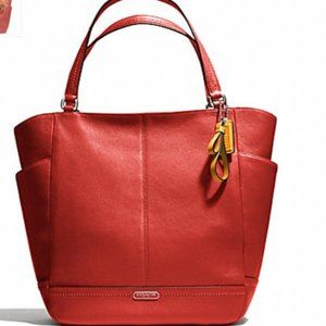 Coach Red Park Leather North/South Tote